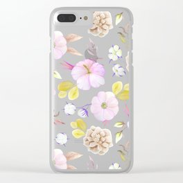 Artist hand painted blush pink lavender watercolor floral Clear iPhone Case
