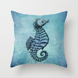 """""""Seahorse II"""" by Amber Marine ~ Ink and Watercolor Art, (Copyright 2016) Throw Pillow"""