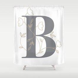 'B' Flower Illustration Shower Curtain