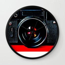 Old retro vintage slr camera Wall Clock