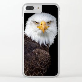 White Head Eagle with black background Clear iPhone Case