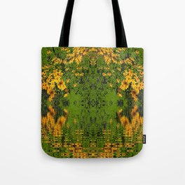GREEN YELLOW RUDBECKIA DAISIES WATER REFLECTIONS Tote Bag