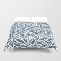 whale Duvet Covers featuring Whale, Sperm Whale by Elena O'Neill