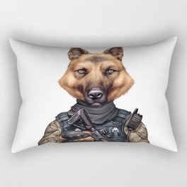 funny cool german shepherd soldier dog wearing army military clothes Rectangular Pillow