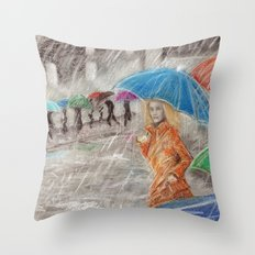 Rainy Days in Normandy Throw Pillow