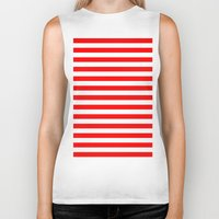 stripes Biker Tanks featuring Horizontal Stripes (Red/White) by 10813 Apparel