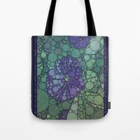 potato Tote Bags featuring Percolated Purple Potato Flower by Charma Rose