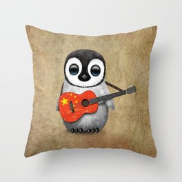 Baby Penguin Playing Chinese Flag Acoustic Guitar Throw Pillow