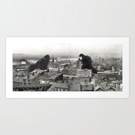 Cincinnati King Kong and Godzilla Rumble Art Print