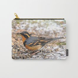 Male Varied Thrush Amid the Snow and Seed Carry-All Pouch