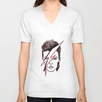 aladdin V-neck T-shirts featuring Bowie Aladdin by Diego L.D.