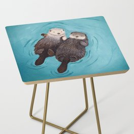 Otterly Romantic - Otters Holding Hands Side Table