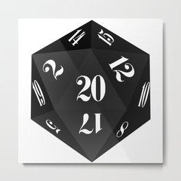 Black 20-Sided Dice Metal Print