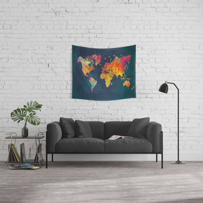 World Map blue #world #map Wall Tapestry