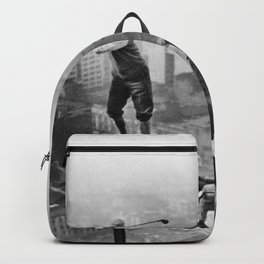 Tough Par Four - Golf Game at 1000 feet black and white photograph Backpack