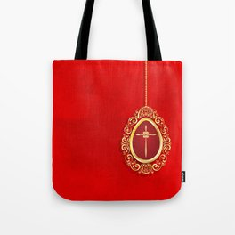 Beautiful red egg with gold cross on rich vibrant texture Tote Bag