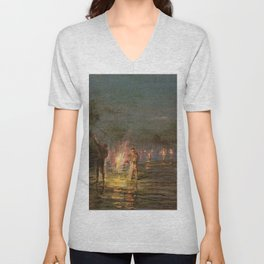 Torchlight Fishing, Waikiki, Hawaii landscape painting by D. Howard Hitchcock Unisex V-Neck