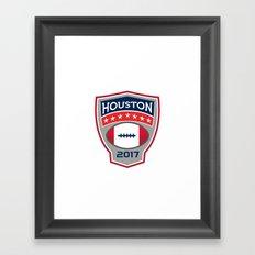 Houston 2017 American Football Big Game Crest Retro Framed Art Print