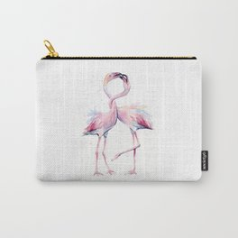 Two Flamingos Watercolor Flamingo Love Carry-All Pouch