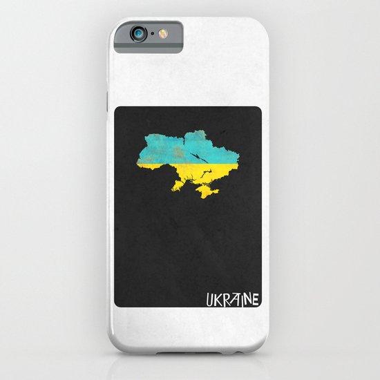 Ukraine Minimalist Vintage Map with Flag iPhone & iPod Case