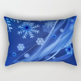Blue Snowflakes Winter Rectangular Pillow