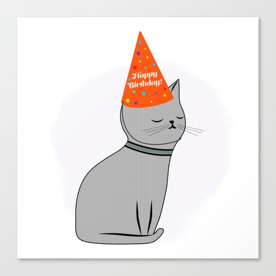 Birthday Cat Canvas Print