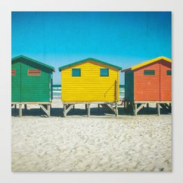 Surf Shacks in Cape Town, South Africa (Square) Canvas Print