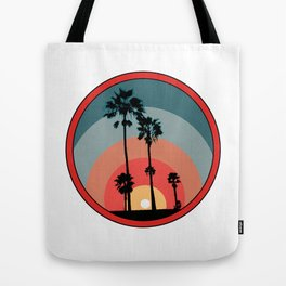 Sunset With Palm Trees (Red) Tote Bag