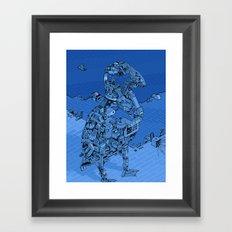 Blue Bird Machine City Framed Art Print