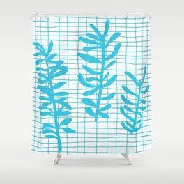 Grid Sprig - aqua blue Shower Curtain