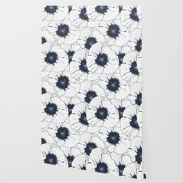 Navy and white poppies Wallpaper