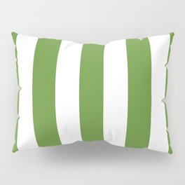 Maximum green - solid color - white vertical lines pattern Pillow Sham