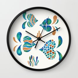 Cute abstract fish with metallic copper accents Wall Clock