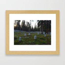 Wooden Headstones in old Alaskan Graveyard Framed Art Print