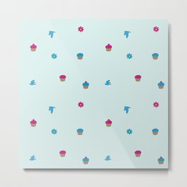 Cupcake, Flower, Bird Pattern Metal Print