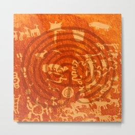 Newspaper Rock with Stylized Labyrinth Metal Print