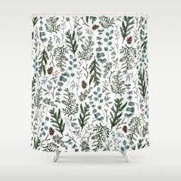Pine and Eucalyptus Greenery Shower Curtain