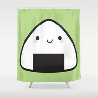 nori Shower Curtains featuring Kawaii Onigiri Rice Ball by Marceline Smith