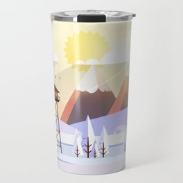 Vector Art Landscape with Fire Lookout Tower Travel Mug