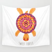 sia Wall Tapestries featuring Sweet Turtle by haidishabrina