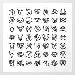 CUTE DOGS / PUPPIES PATTERN Art Print