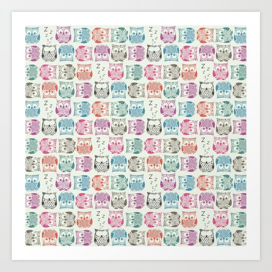 light sherbet owls Art Print