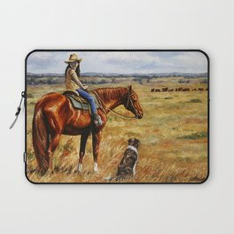 Young Cowgirl on Cattle Horse Laptop Sleeve