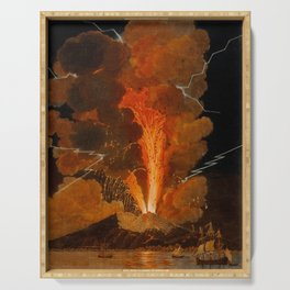 Mount Vesuvius erupting at night, billowing clouds and flashes of lightning Serving Tray