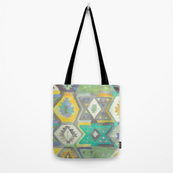 Kilim Me Softly in Turquoise Tote Bag