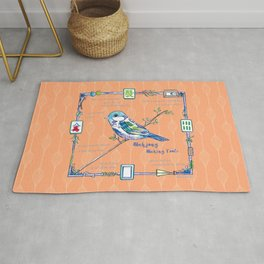 Sparrow Mahjong in Orange Rug