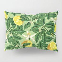 Lemonade Garden, Green Fresh Lemon Botanical Illustration, Vibrant Summer Tropical Fruit Nature Pillow Sham