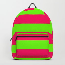 Bright Neon Green and Pink Horizontal Cabana Tent Stripes Backpack