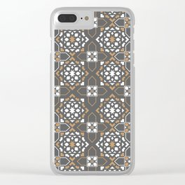 oriental brown mosaic Clear iPhone Case