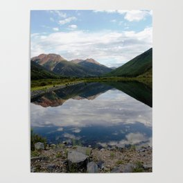 Reflection of the Red Mountains on Crystal Lake Poster
